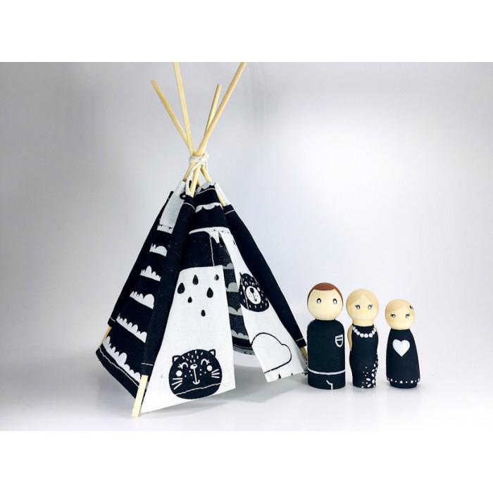 Ensemble Pluie de noir et de blanc / Tipi et poupée de bois
