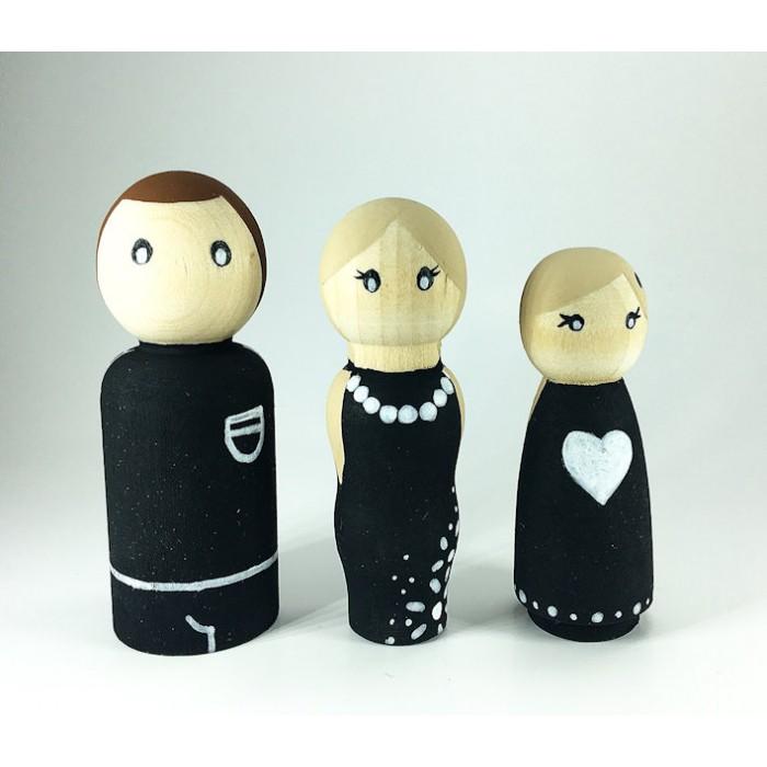 Ensemble Pluie de noir et de blanc / famille poupée de bois seul
