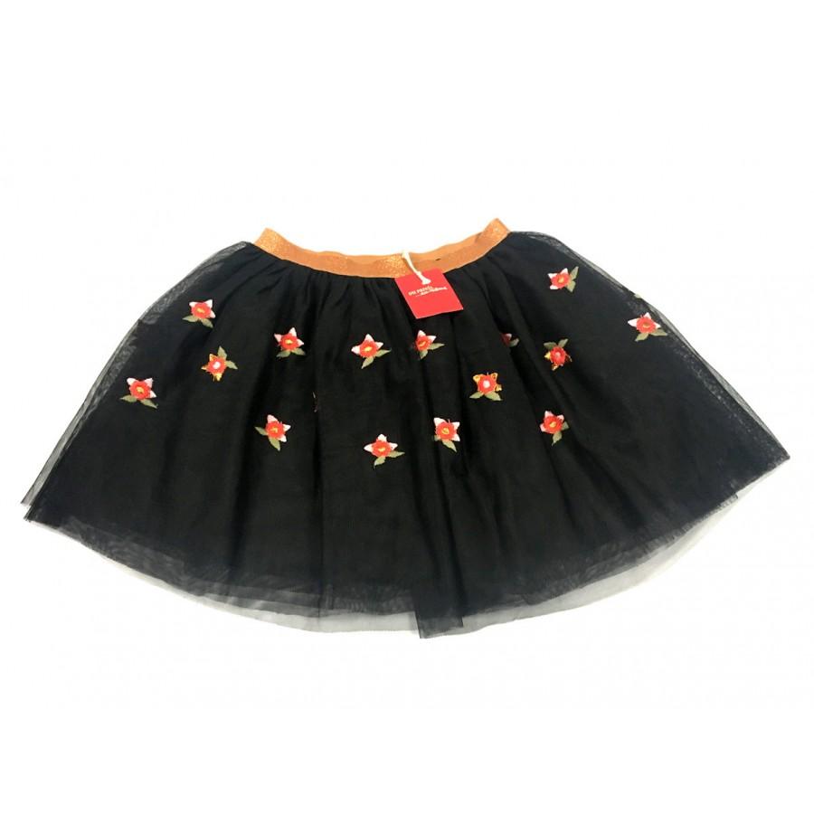jupe noir fleuris tulle / 10 ans