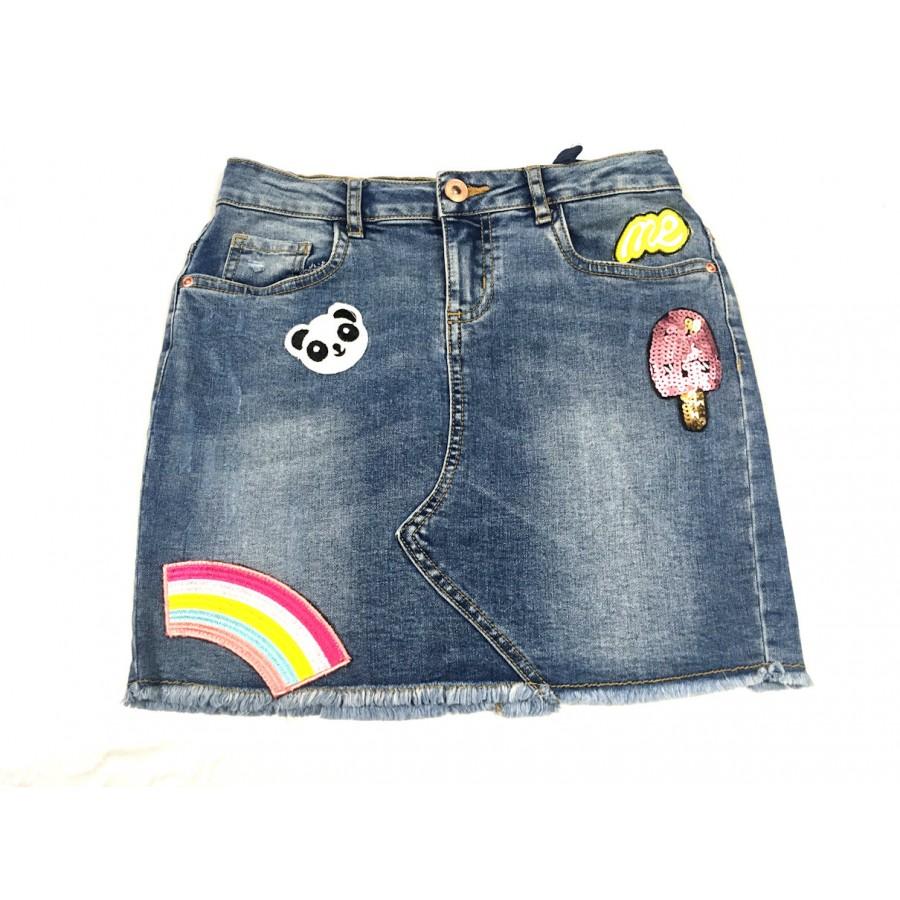 jupe jeans patch / 12 ans
