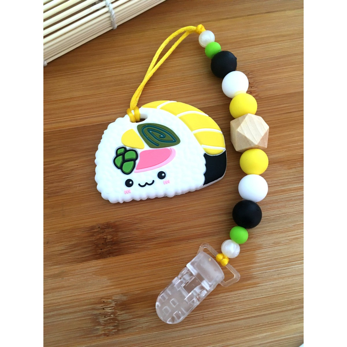 Jouets de Dentition / attache suce Sushi jaune