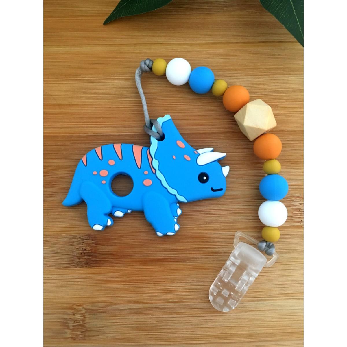 Jouets de Dentition / attache suce dinosaure triceratops