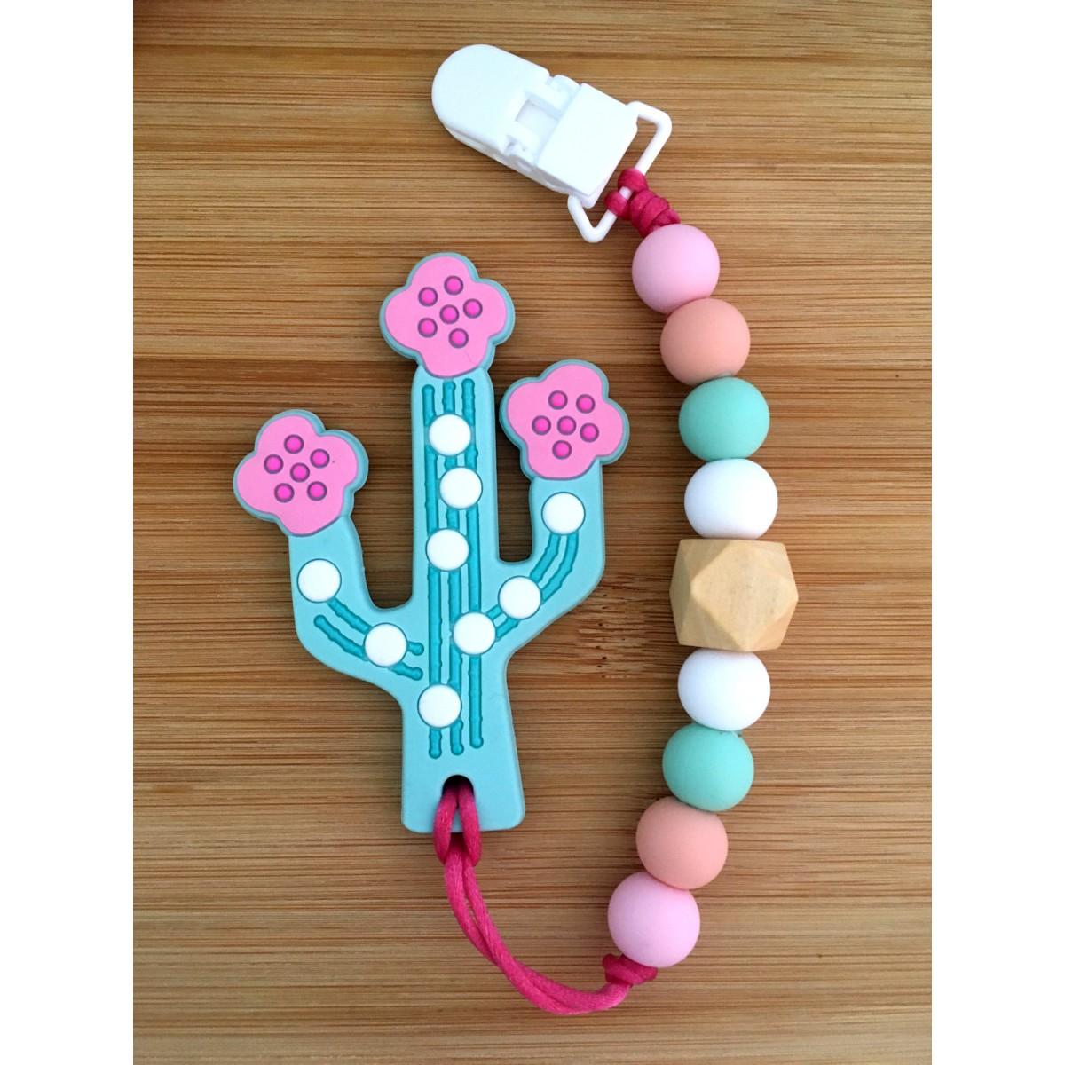 Jouets de Dentition / attache suce cactus turquoise