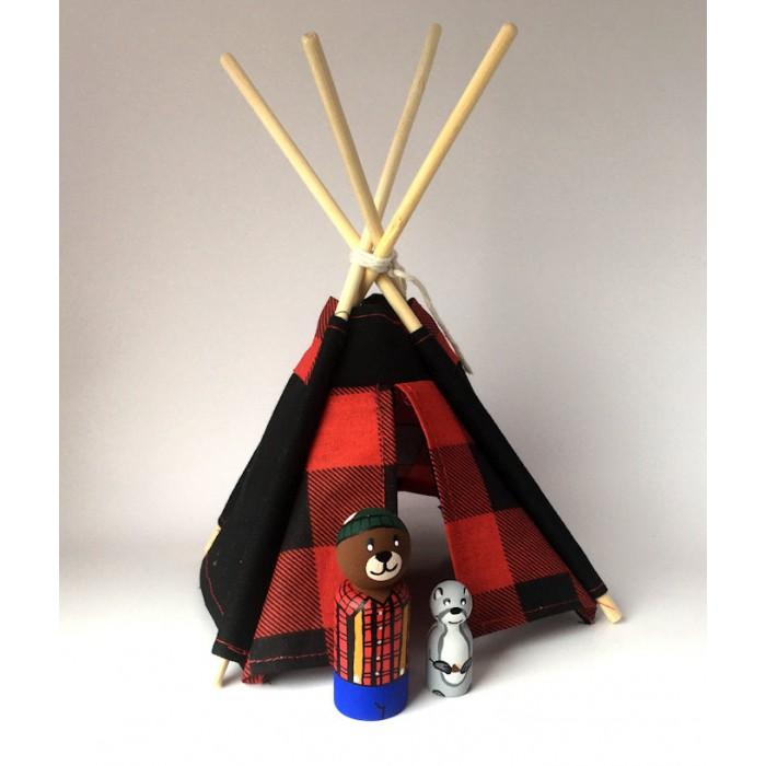 Ensemble bucheron ours / Tipi et poupée de bois