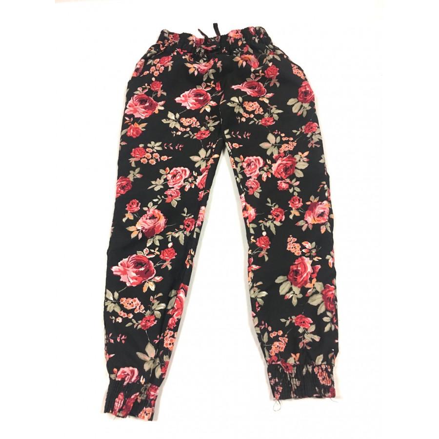 pantalon satin fleuris / 5-6 ans