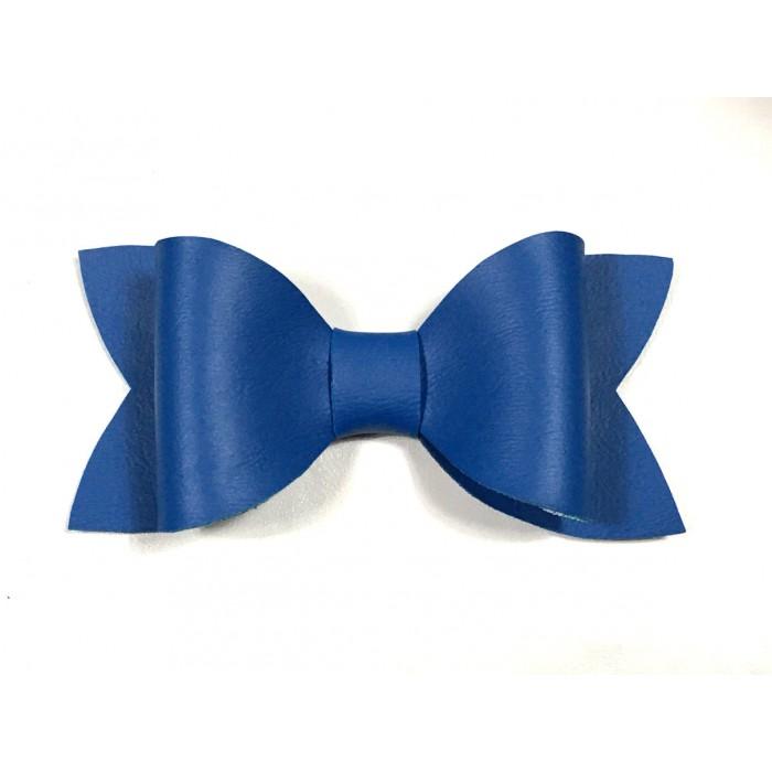 Grosse boucle à cheveux pinces faux cuir bleu