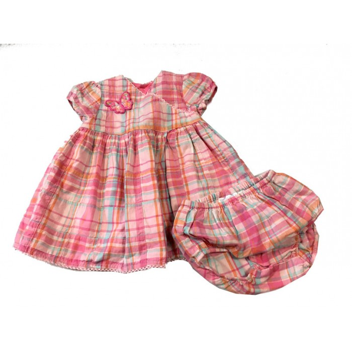 robe carreaux / 6-9 mois