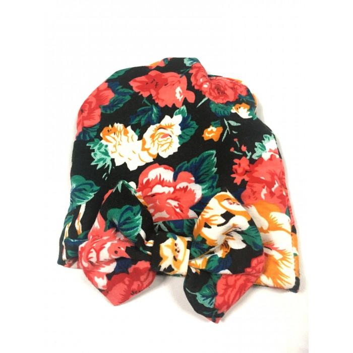 bonnet fleuris / 0-6 mois